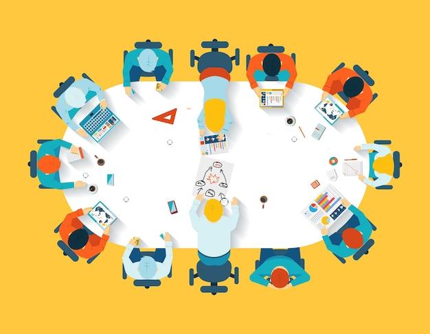 Praca W Zespole. Biznesowa Burza Mózgów Widok Z Góry. Zespół Biurowy, Stół Konferencyjny, Ludzie I Firma Darmowych Wektorów