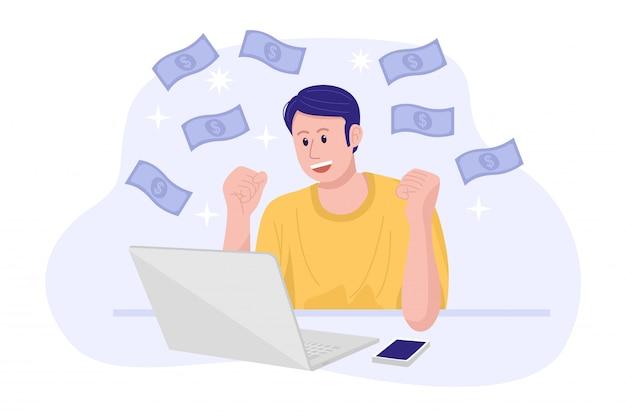 Praca Z Domu Koncepcja, Młody Człowiek Szczęśliwy Zarabianie Pieniędzy W Internecie. Premium Wektorów