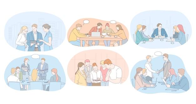 Praca Zespołowa, Burza Mózgów, Negocjacje, Spotkanie, Koncepcja Partnerów Biznesowych. Premium Wektorów
