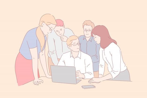 Praca zespołowa, coworking, współpraca. młodzi, uśmiechnięci ludzie biznesu spotykają się w biurze. biznesmeni i kobiety biznesu w pobliżu szefa i laptopa dyskutują o nowych pomysłach lub startupie. proste mieszkanie Premium Wektorów