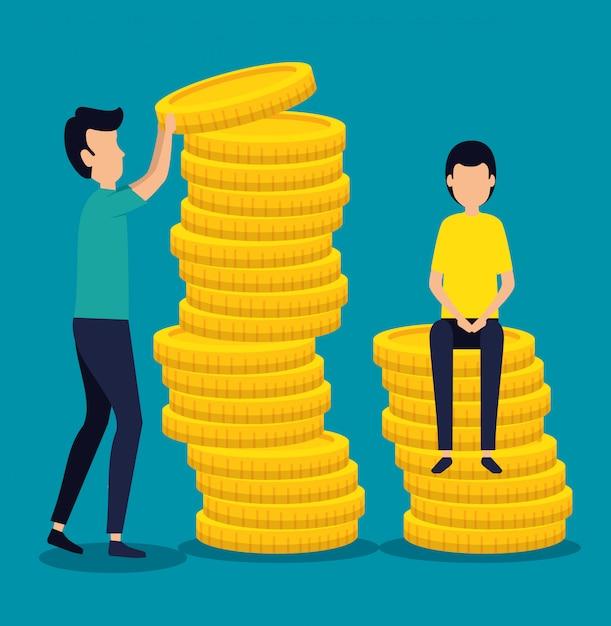 Praca zespołowa ludzi biznesu z monetami Darmowych Wektorów