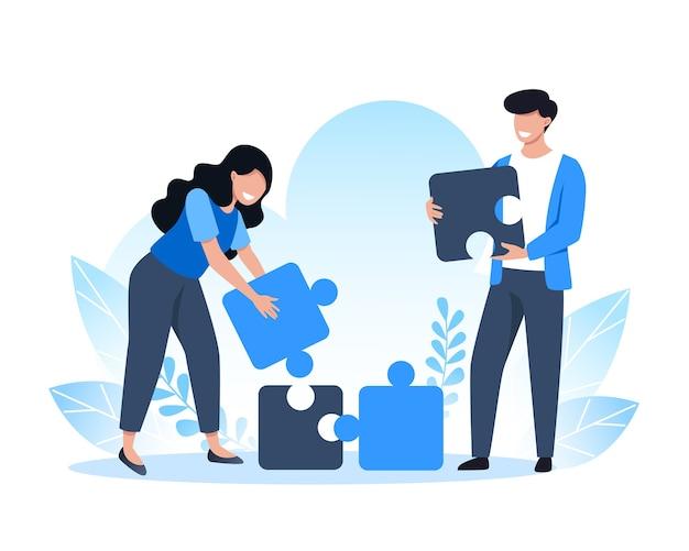 Praca Zespołowa, Ludzie łączą Elementy Układanki, Rozwiązania I Rozwiązywanie Problemów Premium Wektorów