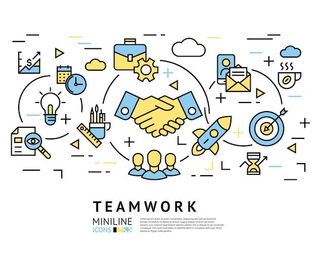 Praca zespołowa, uruchomienie, ikony biznesu Premium Wektorów
