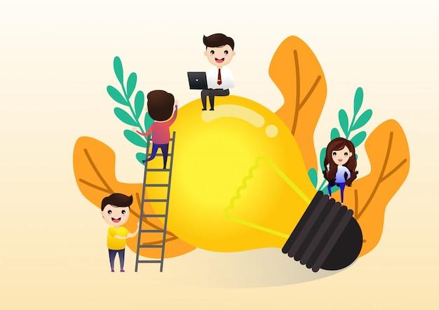 Praca zespołowa w poszukiwaniu nowych pomysłów Premium Wektorów