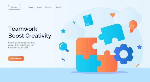 Praca Zespołowa Zwiększa Kreatywność Instaluj Kampanię Ikon Elementów Puzzli Dla Szablonu Strony Głównej Strony Internetowej W Stylu Kreskówki Premium Wektorów