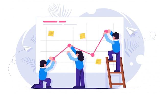 Pracować W Zespole. Koncepcja Pracy Zespołowej. Prezentacja Biznesowa Premium Wektorów