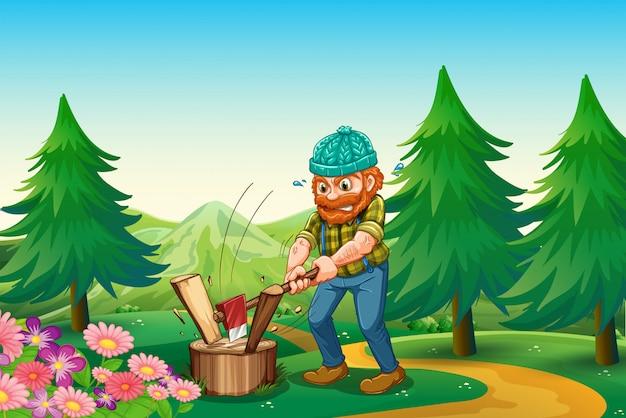 Pracowity leśnik rąbający drewno w pobliżu ogrodu na szczycie wzgórza Premium Wektorów