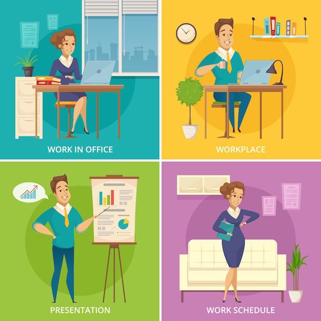 Pracownicy biurowi miejsca pracy 4 retro ikony obciosują z retro postać z kreskówki na kolorowym tle odizolowywającym Darmowych Wektorów