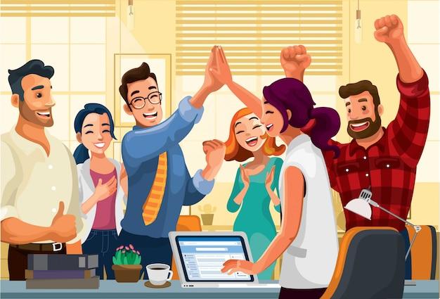 Pracownicy Biurowi świętują Sukces Premium Wektorów