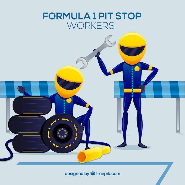 Pracownicy Formuły 1 Z Płaskimi Konstrukcjami Darmowych Wektorów