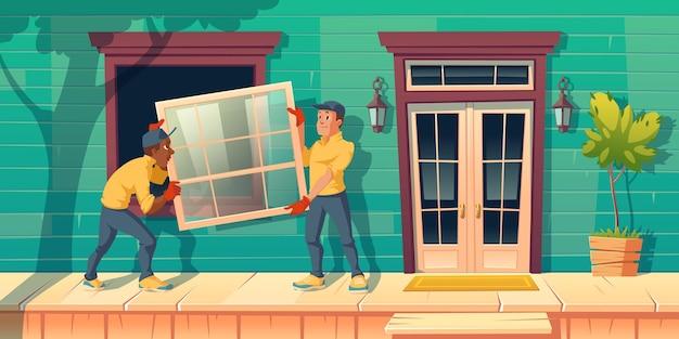Pracownicy Instalują Szklane Okno W Domu Darmowych Wektorów