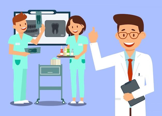 Pracownicy Kliniki Stomatologicznej Premium Wektorów
