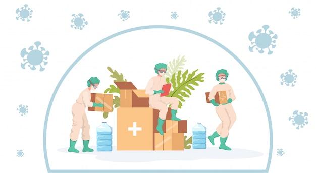 Pracownicy Medyczni Biorą Pomoc Humanitarną Podczas Coronavirus Wybuchu Kreskówki Ilustraci. Premium Wektorów