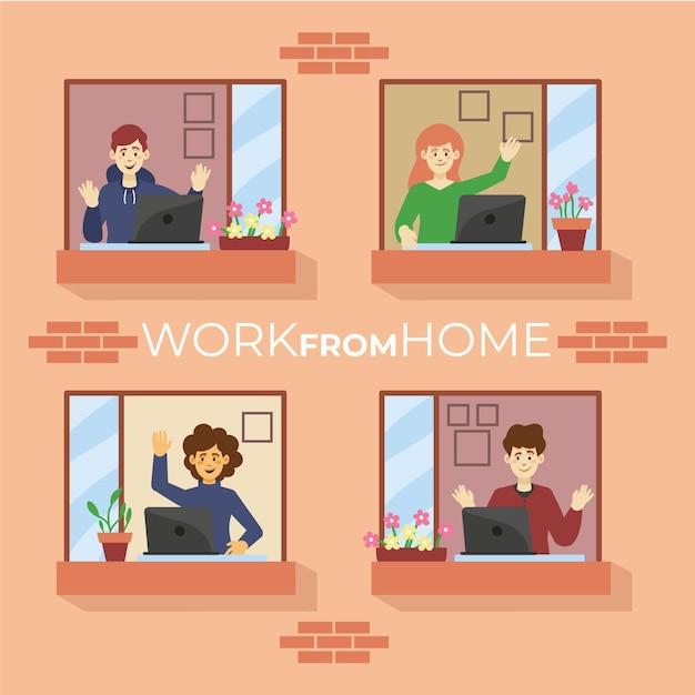 Pracownicy Pracujący W Domu Darmowych Wektorów