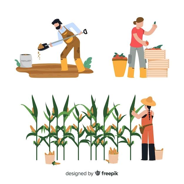 Pracownicy przy działalności rolniczej ilustracją Darmowych Wektorów