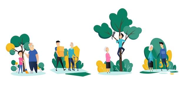 Pracownicy Socjalni Opiekujący Się Seniorami. Młodzi Wolontariusze Pomagają Starszym Mężczyznom I Kobietom W Różnych Sytuacjach. Płaska Kreskówka. Premium Wektorów