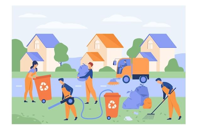 Pracownicy sprzątający zbierający śmieci na podmiejskiej ulicy, myjący ulice, przenoszący torbę ze śmieciami do kosza Darmowych Wektorów