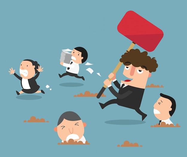Pracownicy Uciekają Przed Złym Szefem. Ilustracja Premium Wektorów