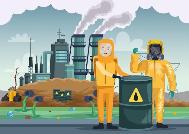 Pracownicy W Garniturze Przemysłowym I Beczce Nuklearnej Premium Wektorów