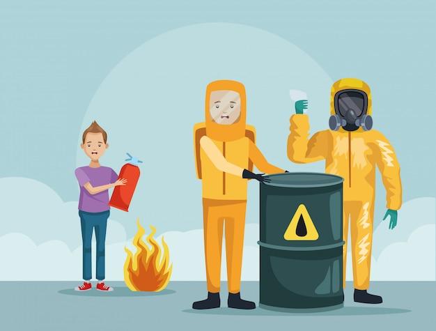 Pracownicy W Garniturze Przemysłowym I Chłopiec Za Pomocą Gaśnicy Premium Wektorów