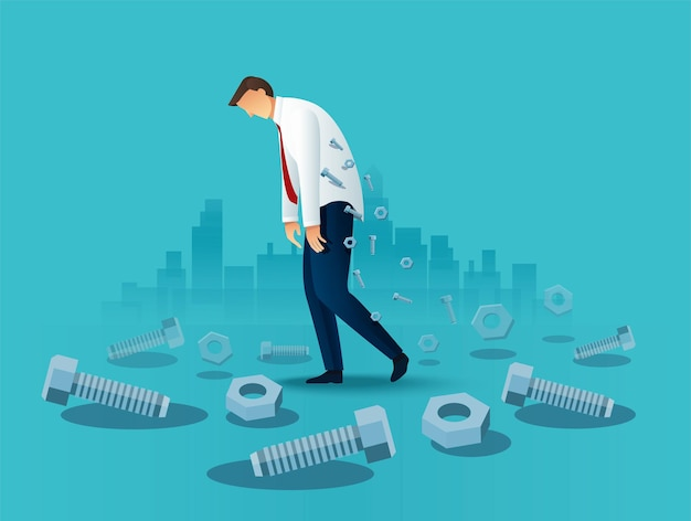 Pracownik Biurowy Człowiek Zmęczony Biznes. Przepracowana Koncepcja Premium Wektorów