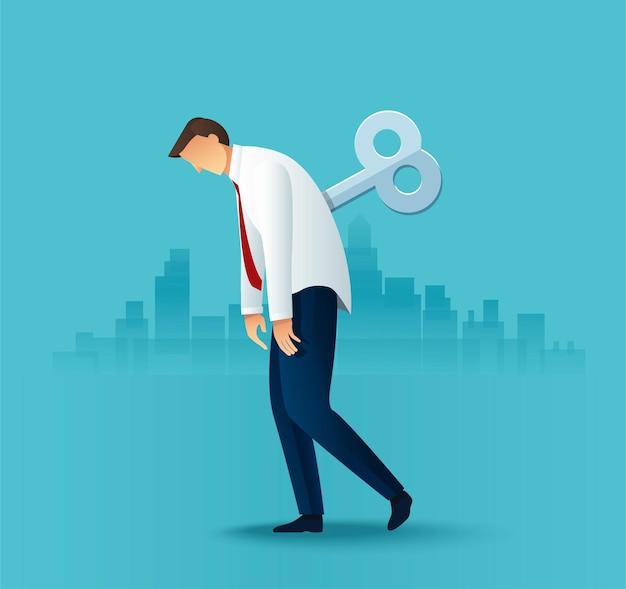 Pracownik Biurowy Człowiek Zmęczony Biznes Premium Wektorów