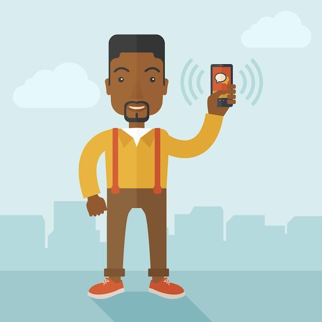 Pracownik Biurowy I Jego Smartphone. Premium Wektorów