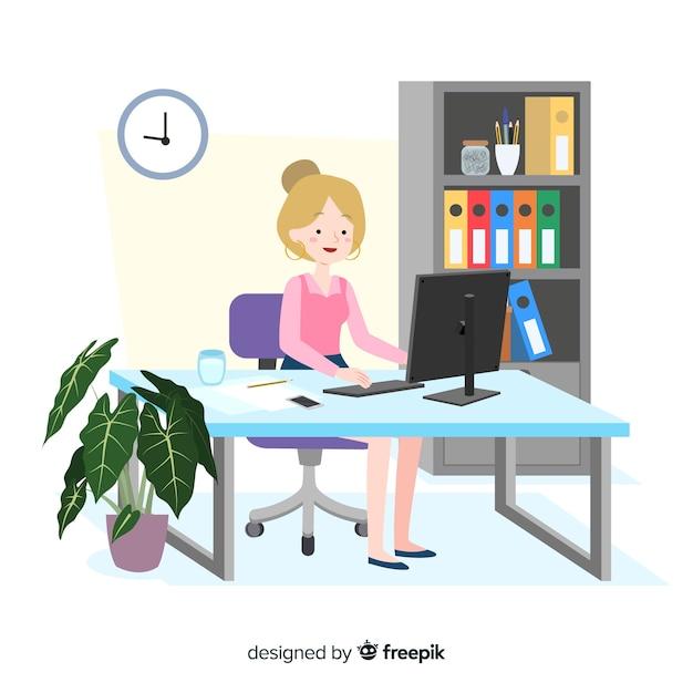 Pracownik biurowy, siedząc przy biurku płaska konstrukcja Darmowych Wektorów