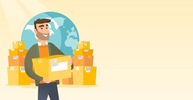 Pracownik biznesowy międzynarodowej usługi dostawy. Premium Wektorów