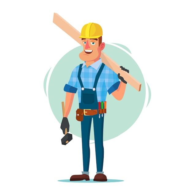Pracownik budowlany z narzędziami Premium Wektorów