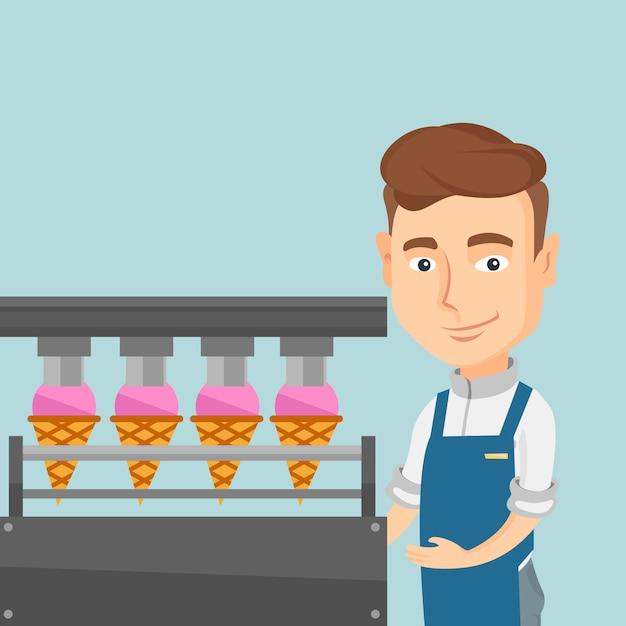 Pracownik fabryki produkującej lody. Premium Wektorów