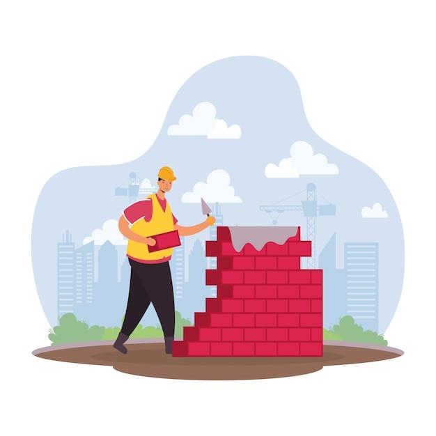Pracownik Konstruktora Z Cegły ściany Charakter Sceny Wektor Ilustracja Projekt Premium Wektorów