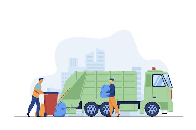 Pracownik Odbioru śmieci Czyszczenia Kosza Na śmieci W Ciężarówce. Człowiek Niosący śmieci W Plastikowej Torbie Płaskiej Ilustracji Wektorowych. Usługi Miejskie, Koncepcja Usuwania Odpadów Darmowych Wektorów