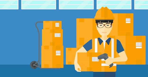 Pracownik sprawdza kod kreskowy na pudełku Premium Wektorów