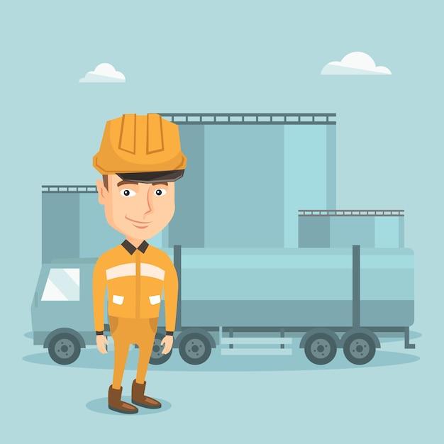 Pracownik z ciężarówką paliwa i rośliną olejową. Premium Wektorów