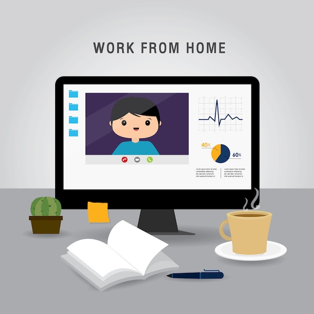 Pracuj W Domu, Zespół Business Za Pomocą Laptopa Do Spotkania Online W Wideokonferencji. Ludzie W Domu Poddani Kwarantannie. Postać Z Kreskówki Ilustracja Premium Wektorów