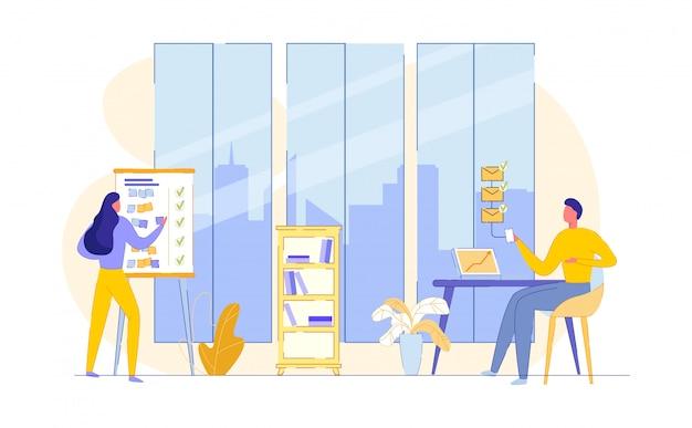 Pracuj W Przestronnym Biurze. Płaska Ilustracja. Premium Wektorów