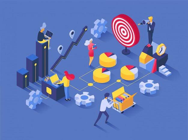 Pracy Zespołowej Wektorowi Ludzie Pracuje W Drużyny I Biznesmena Charakterze Współpracują Wpólnie Ilustracyjnego Ustawiającego Biznesowego Pojęcie Sukcesu Rozwiązania Pomysłu Projekta Tła Strategia Premium Wektorów