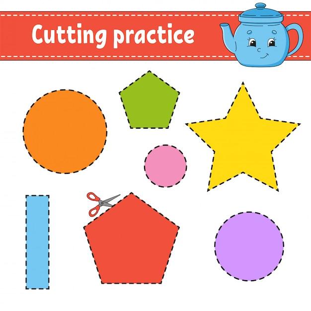 Praktyka Cięcia Dla Dzieci. Arkusz Rozwijający Edukację. Strona Aktywności Ze Zdjęciami. Premium Wektorów