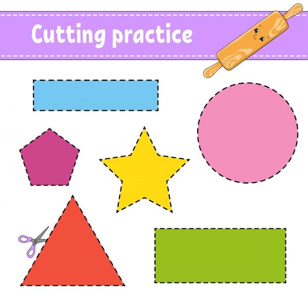 Praktyka Cięcia Dla Dzieci. Arkusz Rozwijający Edukację. Premium Wektorów