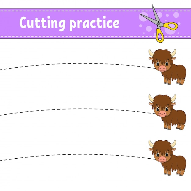 Praktyka Cięcia Dla Dzieci. Jak Zwierzęce. Arkusz Rozwijający Edukację. Strona Aktywności. Premium Wektorów