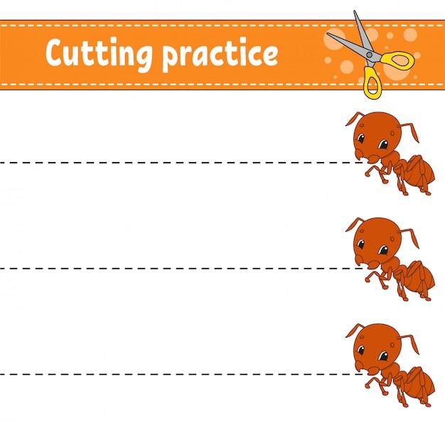 Praktyka Cięcia Dla Dzieci. Mrówka Owadowa Arkusz Rozwijający Edukację. Strona Aktywności. Premium Wektorów