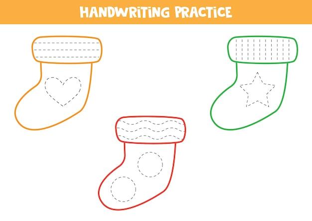 Praktyka Pisma Ręcznego Z Kolorowymi Skarpetami. Premium Wektorów