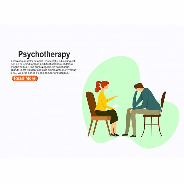 Praktyka Psychoterapeutyczna, Pacjent Poradni Psychiatry. Leczenie Zaburzeń Psychicznych. Ilustracji Wektorowych Premium Wektorów