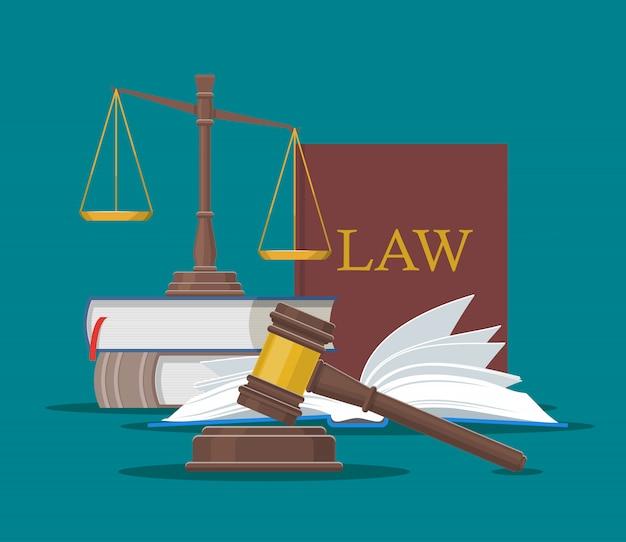 Prawa I Sprawiedliwości Koncepcja Ilustracji Wektorowych W Stylu Płaski. Elementy Wystroju Premium Wektorów