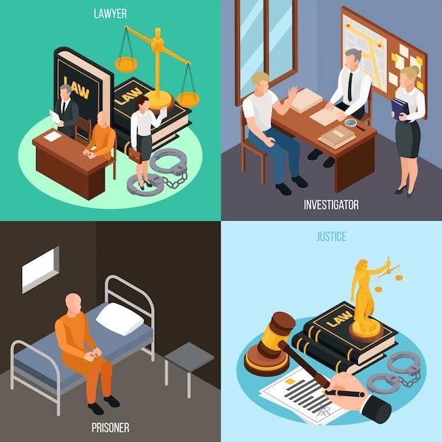 Prawa Sprawiedliwości 4 Pojęcia Isometric Składy Z Dochodzeniem Skazują Cela Więziennego Postępowania Sądowego Akcesoria Odizolowywającą Ilustrację Darmowych Wektorów