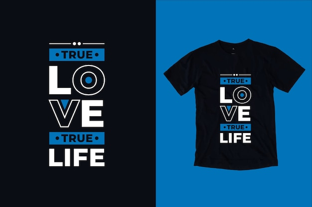 Prawdziwa Miłość Prawdziwe życie Cytuje Projekt Koszulki Premium Wektorów