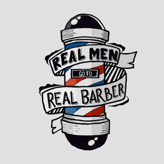 Prawdziwi Mężczyźni Idą Do Prawdziwego Fryzjera Premium Wektorów