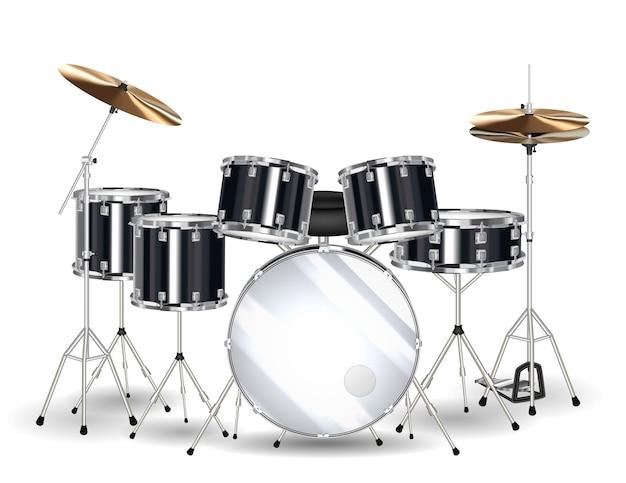 Prawdziwy Czarny Zestaw Perkusyjny Na Białym Tle Premium Wektorów