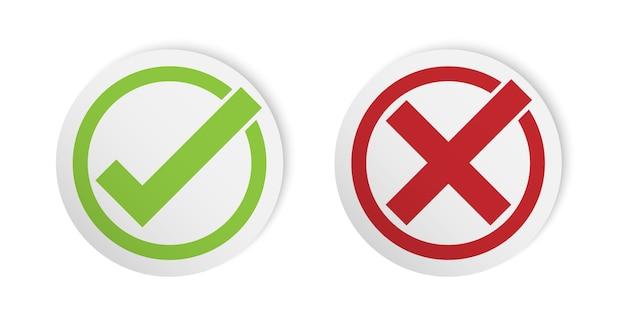 Prawidłowy I Nieprawidłowy Znak, Styl Naklejki Znacznik Wyboru Premium Wektorów
